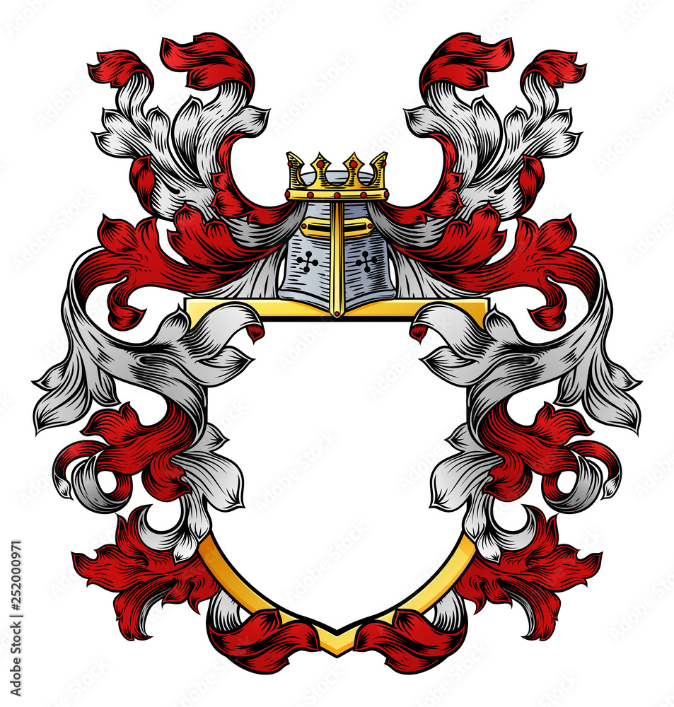 Fototapeta A coat of arms crest heraldic medieval knight or royal family shield. Red and white vintage motif with filigree leaf heraldry.