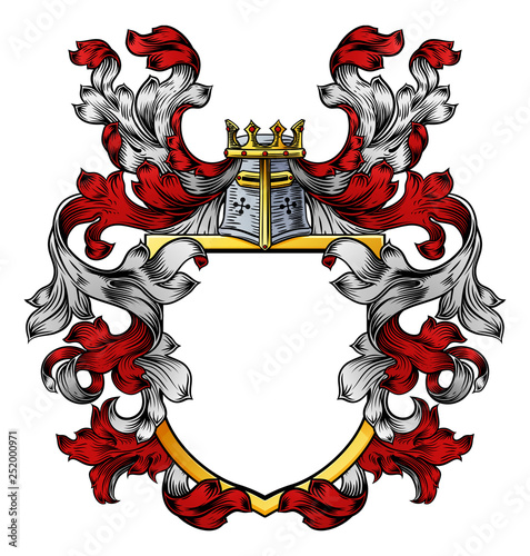 Fotomural A coat of arms crest heraldic medieval knight or royal family shield