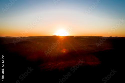 Photo Stands Sunset aerial drone flight, direction Vienna over the Vienna Woods at sunrise, Königstetten, lower Austria, Wienerwald