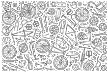 Hand Drawn Bicycle Mechanic Se...