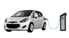 Electric Car - Electric Car Power Supply For Electric Car Charging. Electric Car Charging Station - 3D Render