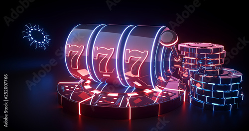 Fotografía  Futuristic Slot Machine And Casino Chips Concept With Red And Blue Neon Lights I