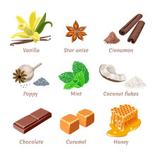 Set Of Vector Culinary Spices, Seasonings, Sweets. Vanilla, Mint, Star Anise, Cinnamon, Coconut Flakes, Poppy Seeds, Chocolate, Caramel, Honey. Bright Illustration In Simple Flat Style.