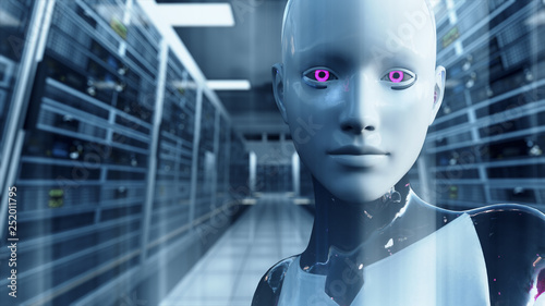Android Artificial Intelligence in Server Room Canvas Print
