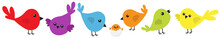 Bird Icon Set Line. Cute Carto...