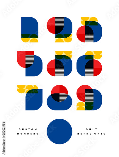 Tela Poster with elegant only retro chic font of numbers in Bauhaus style