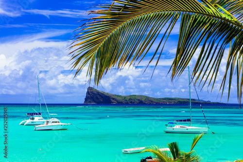 Stampa su Tela beautiful scenery of Mauritius island -tranquil beach in Cap Malheureux