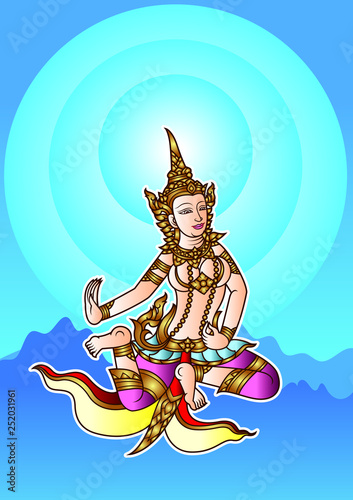 traditional Thailand illustration Angel