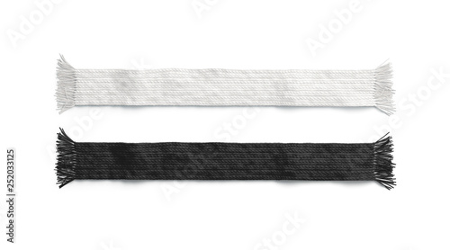 Foto  Blank black and white knitted scarf mockup set, isolated, 3d rendering