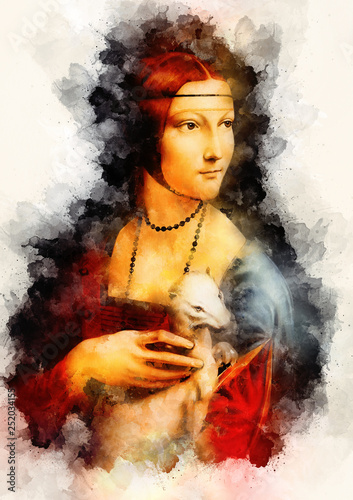Stampa su Tela My own reproduction of painting Lady with an Ermine by Leonardo da Vinci