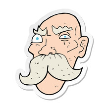 Sticker Of A Cartoon Angry Old...