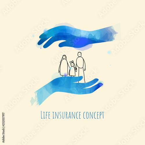 Carta da parati Life and family insurance concept