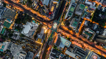 Bangkok city skyscraper and skyline architecture building aerial view, Aerial view from above of skyscraper and traffic in Bangkok, Thailand.