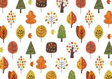 北欧の木水彩テクスチャ秋色