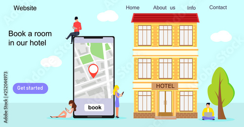 Tiny people make booking hotel and search reservation for holiday concept,  it can be used for landing page, template, ui, web, mobile app, poster, banner, flyer