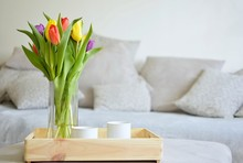 Bouquet Of Tulips On A Tray An...