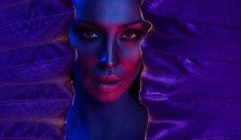 Art Neon Portrait Of Beautiful Sexy Young Woman With Glamorous Mystical Makeup