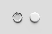 White Beer Cups Mock Up Isolated On Soft Gray Background, Front And Back Side, Top View. Empty Metal Soda Caps Mock Up Design Template. 3D Rendering.