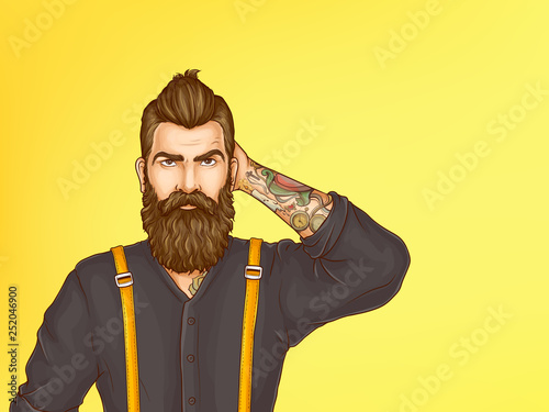 Fototapeta Doubtful and skeptical hipster portrait cartoon vector