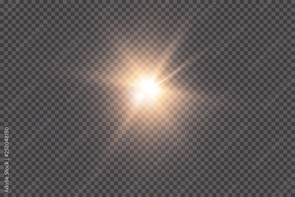 Fototapety, obrazy: White glowing light explodes on a transparent background. with ray.  Transparent shining sun, bright flash.  Special lens flare light effect.