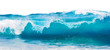 canvas print picture - Blue sea wave with white foam isolated on white background.