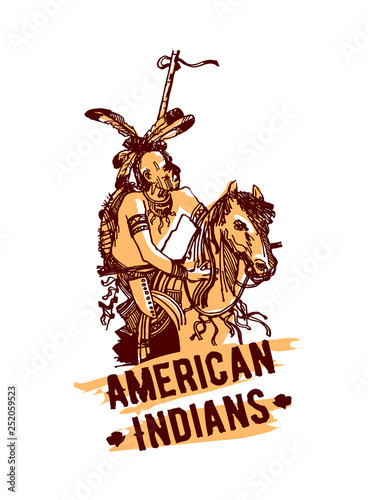 Native american indian hand drawn vector illustration isolated on white backgrou Wallpaper Mural