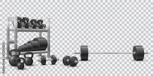 Obraz Beautiful realistic fitness vector of an olympic barbell, black loadable dumbbels, a set of kettlebells and a storage shelf full of black weight barbell plates on transparent background. - fototapety do salonu