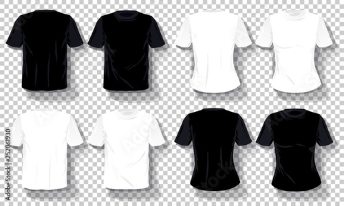 Black White T Shirts Template Set Isolated Hand Drawn Tee Shirts Transparent Background Blank Vector Mockup Advertising Template Concept Graphic Printing Element Buy This Stock Vector And Explore Similar Vectors At Adobe
