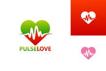 Pulse Love Logo Template Design Vector, Emblem, Design Concept, Creative Symbol, Icon