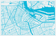 White And Blue Vector City Map Of Amsterdam