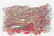 Watercolor Sketch Or Illustration Of A Beautiful View Of Larung Gar Sertar, Sichuan, China