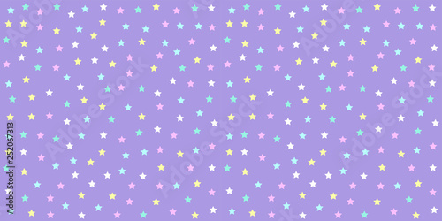 fototapeta na drzwi i meble Pastel unicorn pattern seamless. Star background in purple tone for baby fabric print, wrapping papers, scrapbook, textile, kid wallpaper and gift wrap