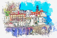 Watercolor Sketch Or Illustration Of A Beautiful View Of The City Of Amalfi In Italy