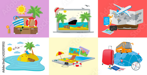 Set of travel concepts, 3d isometric vector illustration