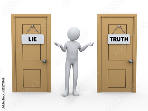 Fotografija  3d person and truth lie door