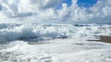 A Ground View Of Waves Crashin...