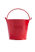Red Iron Bucket Isolated On Wh...