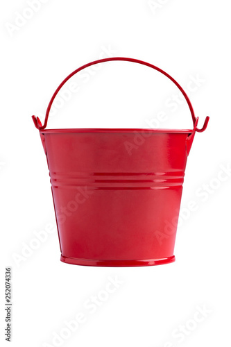 red iron bucket isolated on white background Wall mural