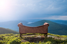 Sofa In The Mountains. Creative. Landscape. Style