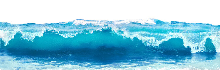 Blue sea wave with white foam isolated on white background.