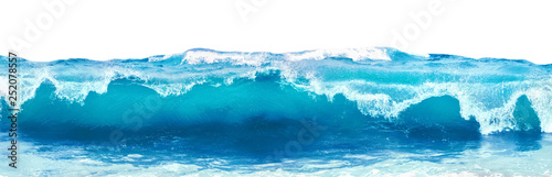 Obraz Blue sea wave with white foam isolated on white background. - fototapety do salonu