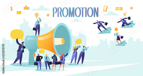 Promoter speaks in big megaphone and attracts buyers of investors and businessmen Canvas Print