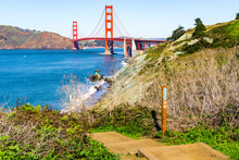 View Towards Golden Gate Bridge From The Coastal Trail, Presidio Park, San Francisco, California