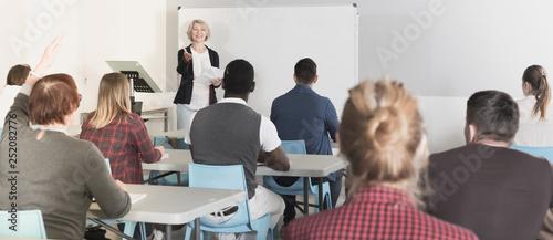 Obraz na plátně Students with teacher studying in classroom