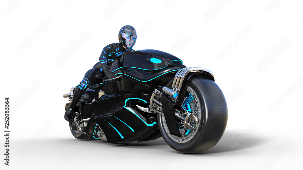 Fototapeta Biker girl with helmet riding a sci-fi bike, black futuristic motorcycle isolated on white background, 3D rendering