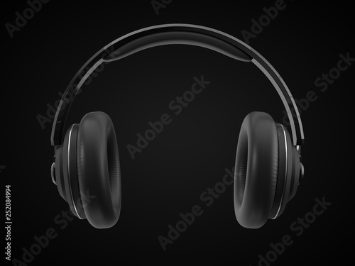 Photo wireless headphone with modern design. 3d illustration