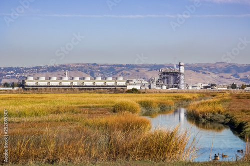 Cuadros en Lienzo The marshes of East San Francisco bay; on the background the city power plant, H