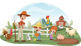 Fototapeta Fototapety na ścianę do pokoju dziecięcego - Cartoon people and animals on the farm. Farm background.