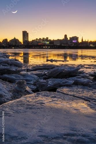 Fotografie, Obraz Albany Skyline Under The Moonlight