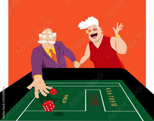 Photo Senior couple shooting craps in a casino, EPS 8 vector illustration